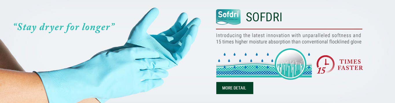 Softdri, glove innovation,innovation, extra soft gloves, extra dry gloves, gloves technology, comfort gloves, dry gloves, soft gloves, household gloves, industrial gloves, latex gloves, rubber gloves, nitrile gloves, food processing gloves, cleaning gloves, chemical handling gloves, flocklined gloves